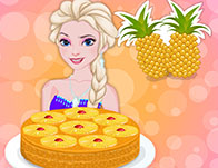 Elsa Cooking Upside Down Pineapple Cake